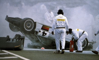Webber's world turned upside down at Le Mans in 1999. Pic: ACO