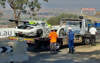 The HTP Mercedes being recovered on Friday