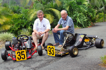 Angelo Parrilla and Harm Schuurman with two historically significant karts