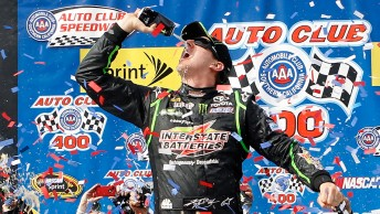 Kyle Busch celebrates at Fontana