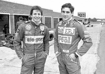 Ayrton Senna (right) and Martin Brundle (left) at Snetterton