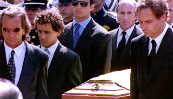 Emerson Fittipaldi, Alain Prost, Gerhard Berger and Jackie Stewart were among the pallbearers. Pic: CNN