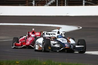Josef Newgarden ahead Scott Dixon on the upgraded Indianapolis road course