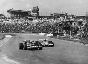 Jackie Stewart (#1) and Brabham at the 1970 South African GP which was the Australian's final F1 win