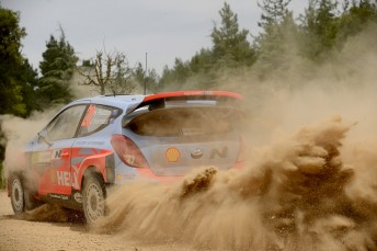 Hayden Paddon and John Kennard at the Sardinia rally. Photo McKlein Images LR