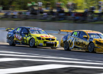 Van Gisbergen chases Moffat down the front straight