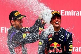 Daniel Ricciardo celebrates becoming a grand prix winner in Montreal