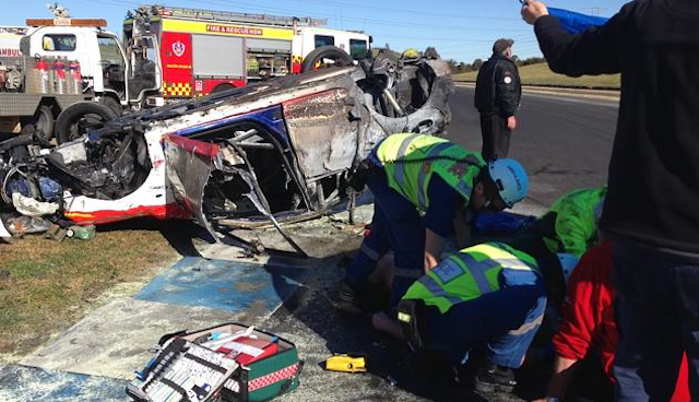 The accident scene at Turn 1. pic: Brian Parsell via News Litd