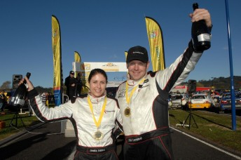 Winners of the VINZ Gold Rush Rally of Coromandel Phil Campbell and Venita Fabbro. PIc: Euan Cameron