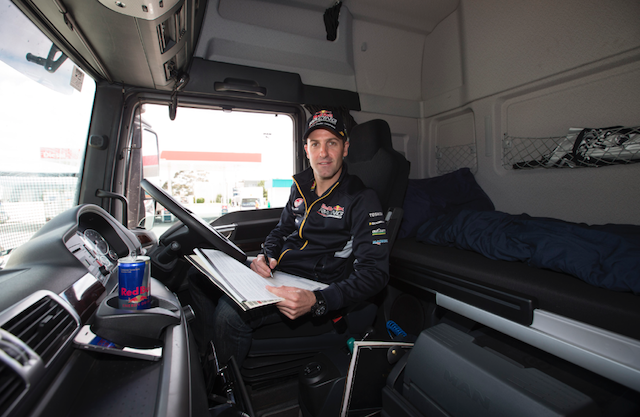 Jamie Whincup aboard the Red Bull transporter