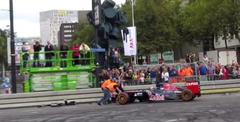 Max Verstappen clouted the barriers during his first public appearance as an F1 driver