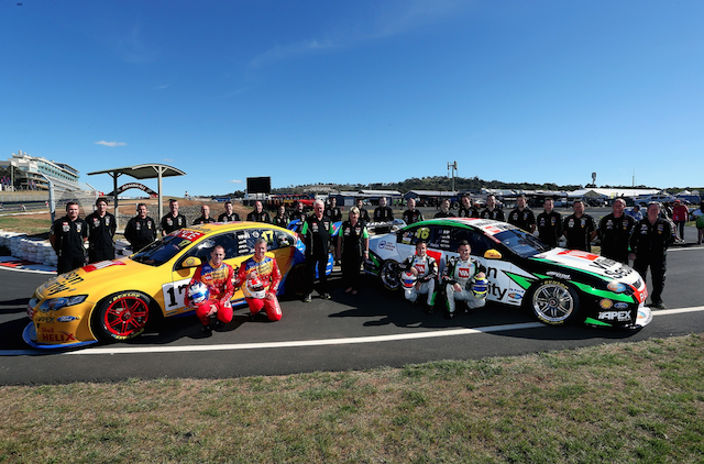 The DJR team posed for a photo shoot at the Bathurst pit entry