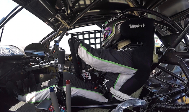 Marcos Ambrose's NASCAR-style driving position inside the #66 Falcon