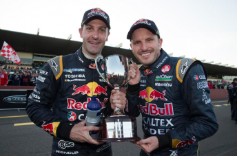 Jamie Whincup and Paul Dumbrell after winning the 2014 Sandown 500