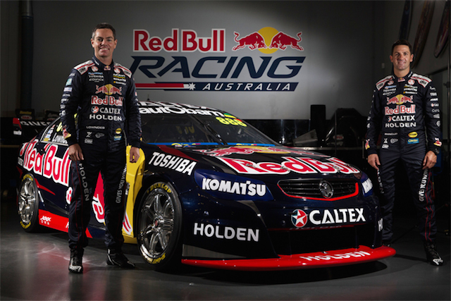 Lowndes and Whincup with the 2015 Red Bull Holden
