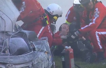 Kyle Busch being treated at the scene