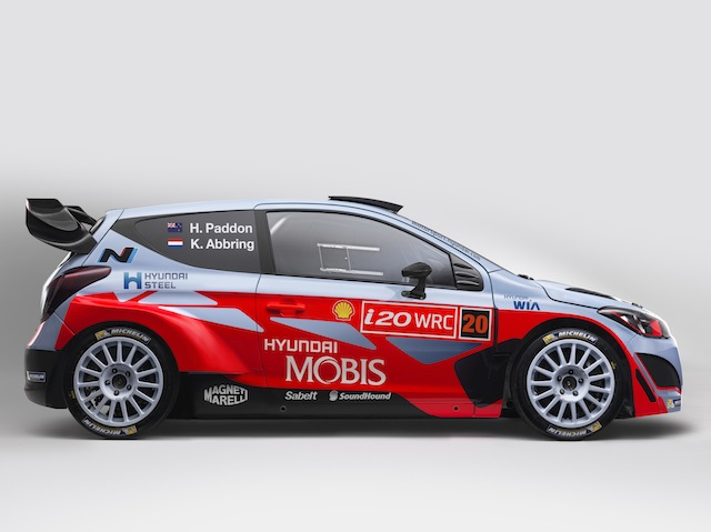 Hayden Paddon and John Kennard's 2015 WRC i20 will carry Mobis backing