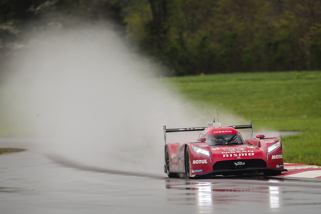 Nissan's GT-R LM continued its development in difficult wet conditions this week