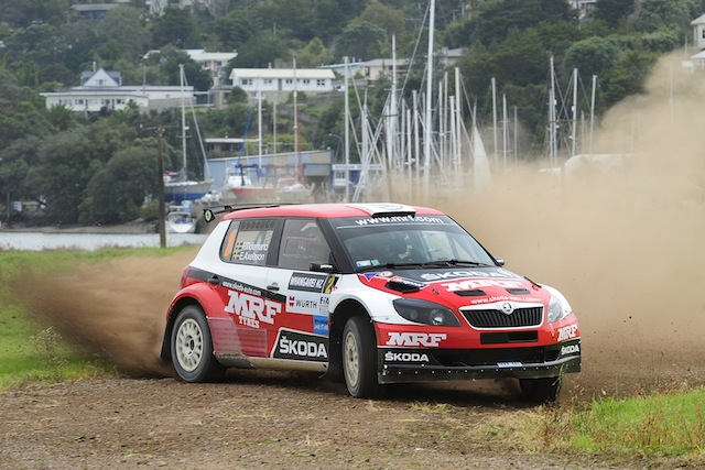 Sweden's Pontus Tidemand and co-driver Emil Axelsson set fastest time at today's shakedown, ahead of this weekend's International Rally of Whangarei - the opening round of the FIA Asia Pacific Rally Championship. pic: Geoff Ridder