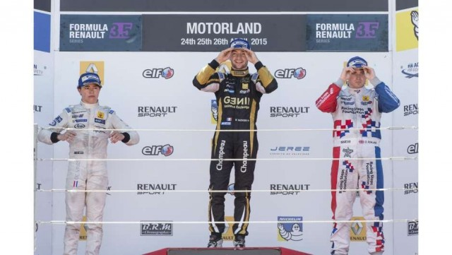 Matthieu Vaxiviere on the top step of the podium at Motorland Aragon