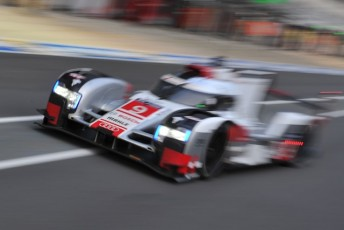 The #9 Audi held a narrow lead at the 8 Hour mark of the Le Mans 24 Hour classic