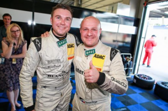 David Russell and Tomas Enge (right) celebrate success in the ADAC GT Masters