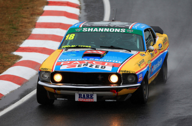 Steven Johnson aboard Bowe's Mustang at Symmons Plains