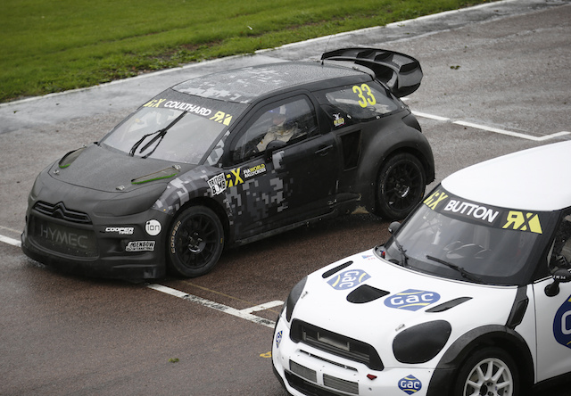 Button and Coulthard flung World Rallycross Supercars around the Lydden Hill layout for a BBC F1 documentary to be aired later in the year