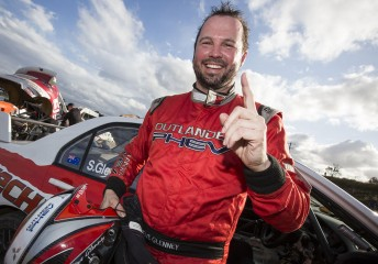 Steve Glenney celebrates victory at the inaugural Extreme Rallycross Championship round at Lakeside Raceway Pic by Matt Jelonek
