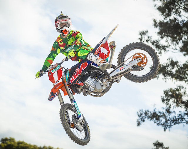 KTM Motocross Racing Team rider Kirk Gibbs has captured the number one plate in the MX1 class of the 2015 MX Nationals. pic: KTM AUstralia