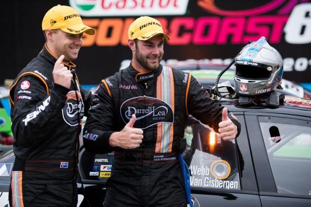 Jono Webb and Shane van Gisbergen celebrate their second triumph at the Castrol Gold Coast 600