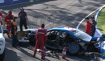 Mostert's car following its crash
