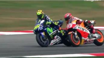 Valentino Rossi and Marc Marquez collide