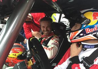 Miller behind the wheel of the Civic alongside WTCC star Tiago Monteiro