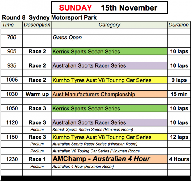 Shannons Nationaks Sunday November 15 Timetable (Local Time)