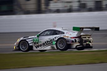 The broken rear win on Van Gisbergen's Porsche