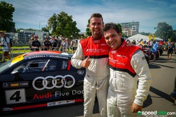 Marcus Marshall (left) and James Koundouris celebrate victory in Race 2