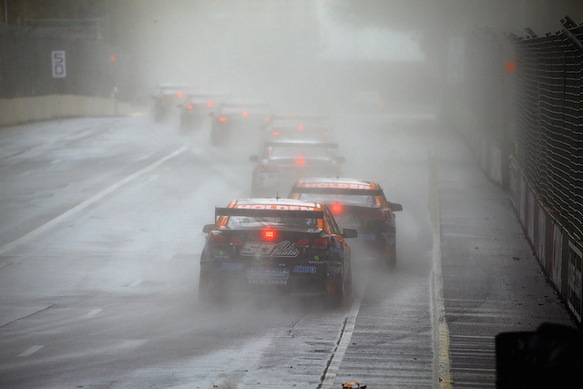 LDM runners Nick Percat and Andre Heimgartner at the end of the train. Percat would ultimately be elevated as the winner after the fuel drop rule caused as much havoc with the field as the rain and lightning