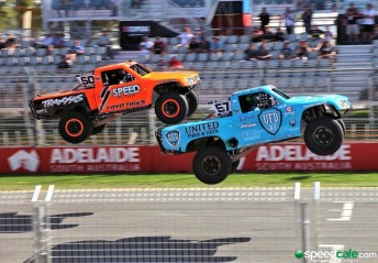 The high flying Stadium Super Trucks were a hit for a second successive year at Clipsal 500
