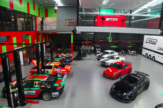 The shop houses Taylor's race and road vehicles