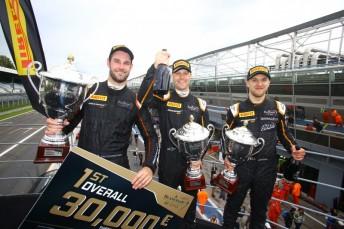 Shane Van Gisbergen celebrates his third Blancpain GT win alongside Rob Bell and Come Ledogar