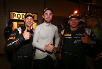 Shane Van Gisbergen celebrates victory with his team-mates Rob Bell and Come Ledogar