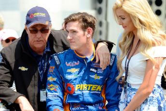 Matty Brabham with partner Kimberley and dad Geoff at the Indy 500 in May. Matt finished 22nd in his rookie start for Pirtek Team Murray