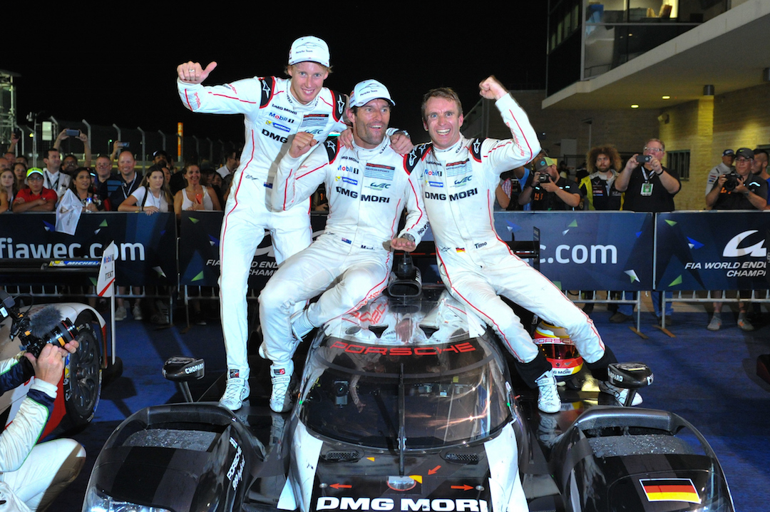 Three on the bounce for Antipodeans Mark Webber and Brendon Hartley and German Timo Bernhard in the World Endurance Championship pic: Musson/PSP Images