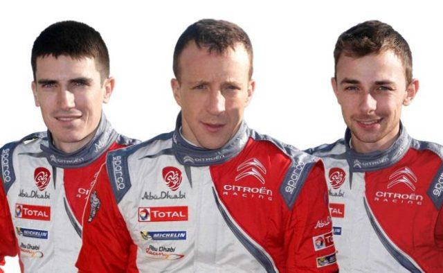 Citroen's 2017 WRC line-up from left Craig Breen, Kris Meeke and Stephane Lefebvre
