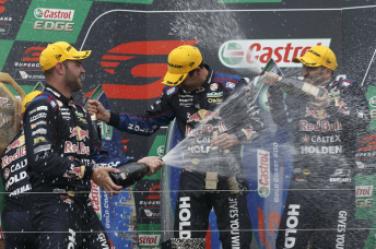 Van Gisbergen, Whincup and Dumbrell celebrate on the Gold Coast