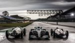 The 1937 Mercedes-Benz W 125, the 2019 Mercedes-AMG F1 W10 and the 1939 Mercedes-Benz W 165 together on the grid in Silverstone